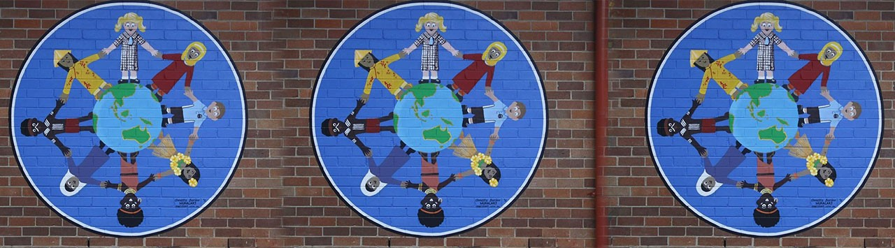 Around the world mural.